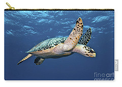 Hawksbill Sea Turtle In Mid-water Carry-all Pouch by Karen Doody