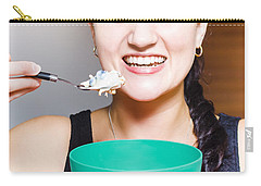 Healthy And Happy Woman Eating Morning Breakfast Carry-all Pouch by Jorgo Photography - Wall Art Gallery
