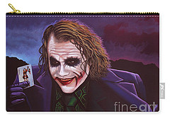 Heath Ledger As The Joker Painting Carry-all Pouch by Paul Meijering