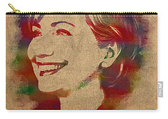 Hillary Rodham Clinton Watercolor Portrait Carry-all Pouch by Design Turnpike