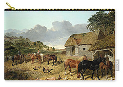 Horses Drinking From A Water Trough, With Pigs And Chickens In A Farmyard Carry-all Pouch by John Frederick Herring Jr