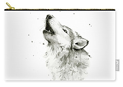 Howling Wolf Watercolor Carry-all Pouch by Olga Shvartsur