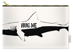 Hug Me Shark - Black  Carry-all Pouch by Pixel  Chimp