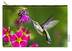 Hummingbird With Flower Carry-all Pouch by Christina Rollo