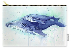 Humpback Whale Mom And Baby Watercolor Carry-all Pouch by Olga Shvartsur