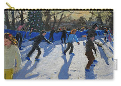 Ice Skaters At Christmas Fayre In Hyde Park  London Carry-all Pouch by Andrew Macara