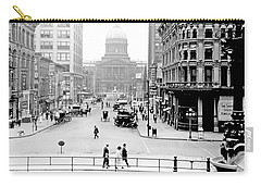 Carry-all Pouch featuring the photograph Indianapolis, Indiana, Downtown Area, C. 1900, Vintage Photograp by A Gurmankin