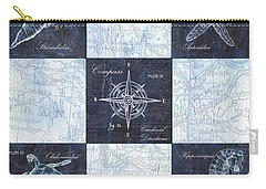 Indigo Nautical Collage Carry-all Pouch by Debbie DeWitt