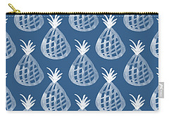 Indigo Pineapple Party Carry-all Pouch by Linda Woods