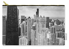 John Hancock Building In The Gold Coast Black And White Carry-all Pouch by Adam Romanowicz