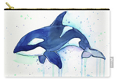 Kiler Whale Watercolor Orca  Carry-all Pouch by Olga Shvartsur