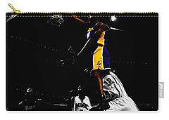 Kobe Bryant On Top Of Dwight Howard Carry-all Pouch by Brian Reaves
