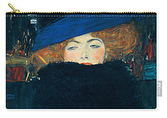 Lady With A Hat And A Feather Boa Carry-all Pouch by Gustav Klimt
