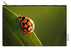Ladybug  On Green Leaf Carry-all Pouch by Johan Swanepoel
