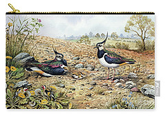 Lapwing Family With Goldfinches Carry-all Pouch by Carl Donner