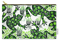 Leaping Frogs Carry-all Pouch by Nat Morley