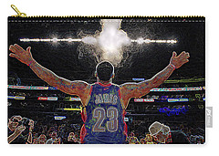 Lebron James Chalk Toss Basketball Art Landscape Painting Carry-all Pouch by Andres Ramos