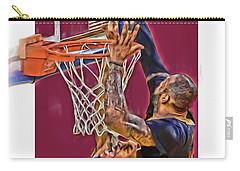 Lebron James Cleveland Cavaliers Oil Art Carry-all Pouch by Joe Hamilton