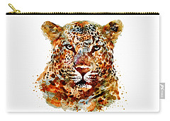 Leopard Head Watercolor Carry-all Pouch by Marian Voicu