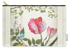 Les Magnifiques Fleurs I - Magnificent Garden Flowers Parrot Tulips N Indigo Bunting Songbird Carry-all Pouch by Audrey Jeanne Roberts