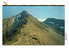 Llama Packer Hiking A Steep Rocky Mountain Peak Trail Carry-all Pouch by Jerry Voss