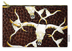Longhorn Art - Cattle Call - Bull Cow Carry-all Pouch by Sharon Cummings