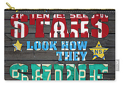 Look At The Stars Coldplay Yellow Inspired Typography Made Using Vintage Recycled License Plates Carry-all Pouch by Design Turnpike