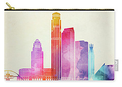 Los Angeles Landmarks Watercolor Poster Carry-all Pouch by Pablo Romero