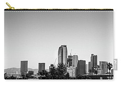Los Angeles Skyline - B And W Carry-all Pouch by Gene Parks