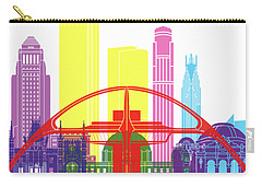 Los Angeles Skyline Pop Carry-all Pouch by Pablo Romero