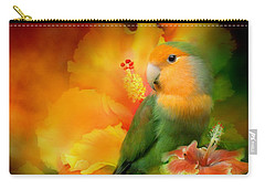 Love Among The Hibiscus Carry-all Pouch by Carol Cavalaris