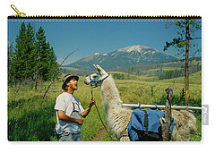 Man Teasing A Llama Carry-all Pouch by Jerry Voss