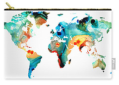 Map Of The World 11 -colorful Abstract Art Carry-all Pouch by Sharon Cummings