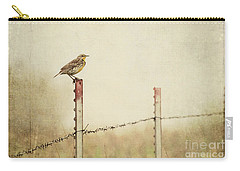 Meadowlark On A Post Carry-all Pouch by Pam  Holdsworth