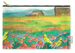 Meadowlarks Coneflower Field Carry-all Pouch by Cathie Richardson
