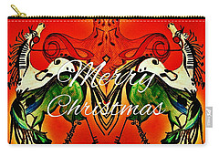 Merry Christmas Dancing Musical Horses Carry-all Pouch by Scott D Van Osdol