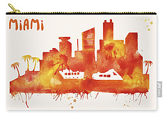 Miami Skyline Watercolor Poster - Cityscape Painting Artwork Carry-all Pouch by Beautify My Walls