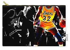 Michael Jordan And Magic Johnson Carry-all Pouch by Brian Reaves