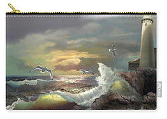 Michigan Seul Choix Point Lighthouse With An Angry Sea Carry-all Pouch by Regina Femrite