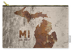 Michigan State Map Industrial Rusted Metal On Cement Wall With Founding Date Series 005 Carry-all Pouch by Design Turnpike