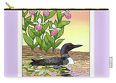 Minnesota State Bird Loon And Flower Ladyslipper Carry-all Pouch by Crista Forest
