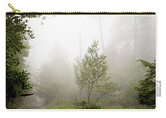 Carry-all Pouch featuring the photograph Misty Road At Forest Edge, Pocono Mountains, Pennsylvania by A Gurmankin