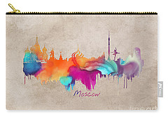 Moscow Russia Skyline City Art Carry-all Pouch by Justyna JBJart