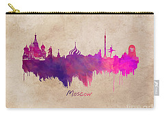 Moscow Russia Skyline Purple Carry-all Pouch by Justyna JBJart