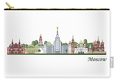 Moscow Skyline Colored Carry-all Pouch by Pablo Romero