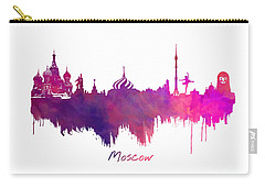 Moscow Skyline Purple Carry-all Pouch by Justyna JBJart
