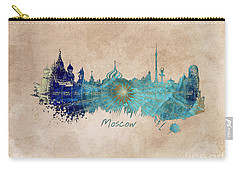 Moscow Skyline Wind Rose Carry-all Pouch by Justyna JBJart