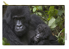 Mountain Gorilla Mother Holding 3 Month Carry-all Pouch by Suzi Eszterhas