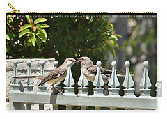 Mr And Mrs Mockingbird With Worms Carry-all Pouch by Linda Brody