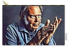 Neil Young Portrait Carry-all Pouch by Scott Wallace
